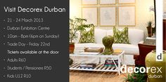 Decorex SA - KZN's finest décor, design and lifestyle expo! 24 March, Events, Lifestyle, Day, Home, Design, Ad Home, Homes