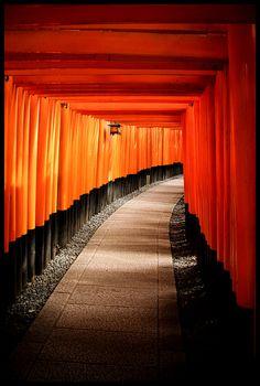 Many torii close together at the Fushimi Inari Shinto in Kyoto.  http://simple.wikipedia.org/wiki/Fushimi_Inari-taisha