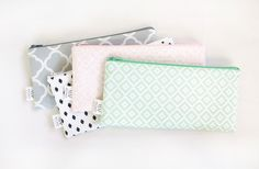Zipper Pouch, Pencil Pouch, Pencil Case, Pink, MInt, Gray, Back To School…