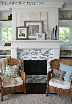 Summer Showcase of Homes ? House Tour- love the bright white fireplace Tile Around Fireplace, White Fireplace, Fireplace Surrounds, Fireplace Design, Fireplace Glass, Fireplace Redo, Cottage Living, Cottage Homes, Home Living Room