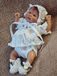 """hand knitted outfit for6""""- 6.5"""" doll or  OOAK Sculpt Baby"""