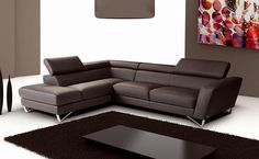 SPARTA - Chocolate Italian Leather Sectional Sofa by NicolettiCalia