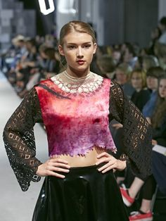 Runway shots from degree show in manchester. Hand made lace Screen print Digital print