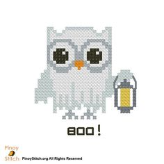 Cross Stitch Image 1 - Counted Cross Stitch Patterns of artist paintings, mini cross stitch, modern cross stitch. Stitcher Accessories and more. Cross Stitch Owl, Cross Stitch Animals, Modern Cross Stitch, Counted Cross Stitch Patterns, Cross Stitch Designs, Cross Stitching, Cross Stitch Embroidery, Embroidery Patterns, Halloween Cross Stitches