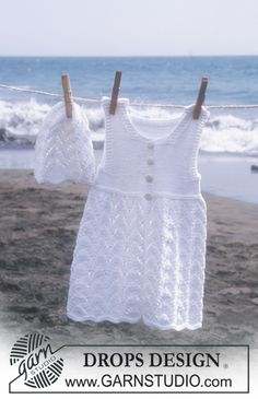 Short sleeved dress and hat in Safran  Free pattern by DROPS Design.