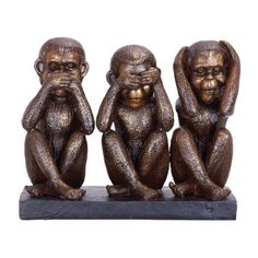 Copper Grove Sariska Monkey See, Speak, Hear No Evil Sculpture (Sculpture), Beige(Acacia) Acacia, Monkey Statue, Three Wise Monkeys, Sculptures, Lion Sculpture, Fake Plants Decor, Old World Charm, Season Colors, Joss And Main