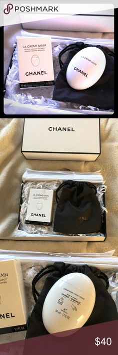 Chanel 'La Creme Main' hand lotion Brand new Chanel 'La Creme Main' hand lotion. 1.7 FL oz. Sold out at most retailers. Bought it from Chanel.com hence why it comes with the white Chanel beauty box plus a small black bag of Chanel beauty samples (which I will include as well). Tried it on and got sensitive to it unfortunately. 😕 Has a light scent and not too powerful. Didn't feel greasy at all! And small enough to keep in purses. Please no trades or PP request! CHANEL Other