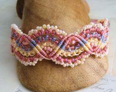 Lacy Pink Beaded Macrame Bracelet Waves of MicroMacrame