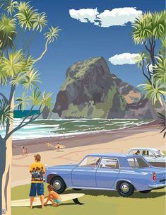 "Check out Retro Poster ""Piha at New Zealand Fine Prints New Zealand Beach, New Zealand Art, Framed Art Prints, Poster Prints, Fine Art Posters, Nz Art, Kunst Poster, Kiwiana, Popular Art"