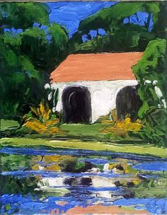 Impressionist California Mission POND by lynnefrenchdesigns, $78.00
