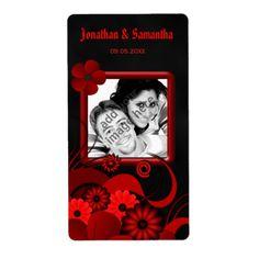 Black Red Floral Wedding Photo Favor Wine Labels