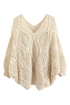 ROMWE | Hollow Batwing Sleeves Loose Jumper, The Latest Street Fashion