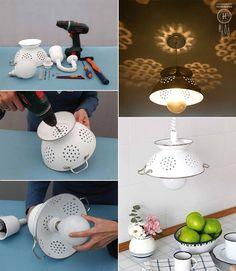 Ceiling Lamp from a Colander. https://sphotos-b.xx.fbcdn.net/hphotos-prn2/968786_291847990952218_1500083973_n.jpg