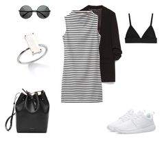 """Black & White striped Sporty Chic"" by bshujewelry ❤ liked on Polyvore featuring Zara, NIKE, ZeroUV and Mansur Gavriel"