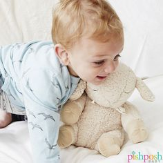 Soft + cuddly Cloud b Sleep Sheep plays 8 soothing sounds & melodies to get your baby soundly to bed. Volume control, auto shut off and a velcro tab to attach to crib or car seat. Makes a great gift - $31.99. http://www.pishposhbaby.com/cloud-b-sleep-sheep.html