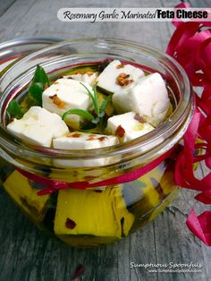 Rosemary Garlic Marinated Feta Cheese ~ The perfect homemade holiday gift! Feta, Tapas, Appetizer Dips, Appetizer Recipes, Chutney, Marinated Cheese, Garlic Cheese, Goat Cheese, Charcuterie