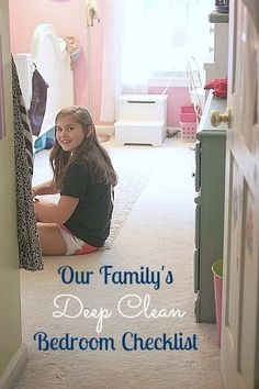 """With company coming, this is my list. Checklist for Deep Cleaning Bedrooms, but we use this one to help train the kids to know when a room is """"guest"""" ready"""