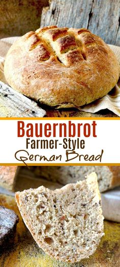 rye bread Bauernbrot - this farmer style German bread is dense, crusty and delicious. This hearty rye bread with caraway seeds is wonderful served right out of the oven with a little butter or cheese. Hearty Bread Recipe, Farmers Bread Recipe, Rye Bread Recipes, Artisan Bread Recipes, Sourdough Recipes, Baking Recipes, Caraway Rye Bread Recipe, Gourmet, Bread Recipes