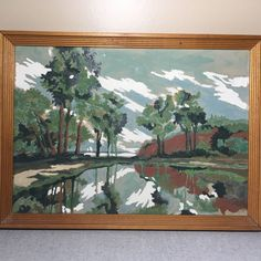 Vintage Framed Paint by Numbers Mountain Scene Kitsch 15 3 4 x 10 3 4   eBay