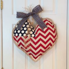 Patriotic Heart Burlap Door Hanger!  A great way to show love of country for the 4th of July! American Flag Heart.
