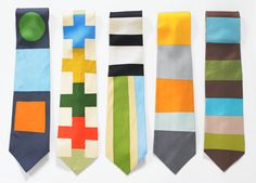Gene Meyer ties, colorful graphic prints.