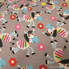 Flannel Fabric  Colorful Zebras  1 yard  100% Cotton by SnappyBaby