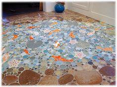 mosaic ceramic tile koi lily pond bathroom shower floor