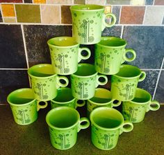 Chartreuse Fiesta® Champagne Ring-Handle Mugs, Retired. Made by Homer Laughlin China Company   eBay