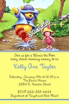 Winnie The Pooh Baby Shower Invitations - CHOOSE YOUR COLOR SCHEME  -  Get these invitations RIGHT NOW. Design yourself online, download and print IMMEDIATELY! Or choose my printing services. No software download is required. Free to try!