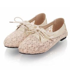Lace-Panel Oxford Flats