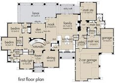 *** like kitchen and living layout*** Stone Clad House Plan with 2 Bonus Rooms - Best House Plans, Dream House Plans, House Floor Plans, My Dream Home, Dream Homes, Dream Big, Architectural Design House Plans, Architecture Design, Nook