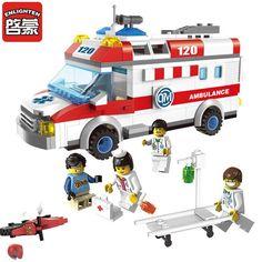 Enlighten 1118 Block Ambulance Series DIY 328pcs Bricks Truck Building Blocks Toys Kids Gift Playmobil Block Compatible Lepin