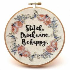 Stitch and Drink Wine Cross Stitch Pattern by Peacock & Fig