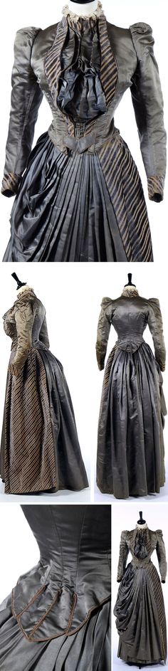 Striped gray satin dress ca. 1890. Kerry Taylor Auctions