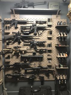 filling up the gallow wall with some epic firearms! Ammo Storage, Weapon Storage, Weapons Guns, Guns And Ammo, Gun Safe Room, Gun Closet, Tactical Wall, Tactical Gear, Gun Vault