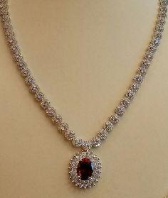 Oval Cut Red Ruby & Diamond Tennis Necklace Solid White Gold Over Diamond Necklace Set, Diamond Jewelry, Diamond Bracelets, Diamond Pendant, Jewelery, Jewelry Necklaces, Fashion Jewelry, Women Jewelry, Gold Jewellery Design