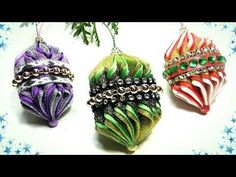 Новогодние игрушки на ёлку своими руками, ёлочные игрушки фонарики канзаши / diy christmas ornaments - YouTube