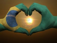Heart And Love Gesture By Hands Colored In Brazil Flag During Beautiful Sunrise Photographic Print Flags Of The World, Places Around The World, Living In Brazil, Peru Beaches, Brazil Flag, Brazil World Cup, Beautiful Sunrise, Happy People, Hand Coloring