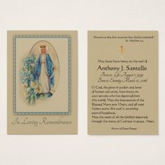 Virgin Mary Catholic Funeral Memorial Holy Card - traditional gift idea diy unique
