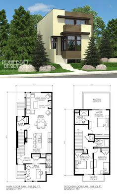 The Contemporary Borden-1757 plan is a small 2-storey suited for a narrow lot.  This contemporary plan features:  Covered front entry Open concept living space Office with large corner windows 3 bedrooms, 2.5 baths Stacking washer/dryer on second floor Large balcony off master bedroom Balcony off other 2 bedrooms