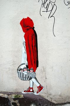 street art  love the sneekers with little red riding hood