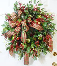 XXL Christmas Door Wreath Outdoor Holiday Wreath Wired Plaid & Burlap Double Bow