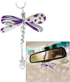 """Tell negativity to """"bug off"""" with the shimmering affirmation of our dragonfly car charm, imprinted with the powerful reminder to """"Just Believe."""" Silver-tone metal & enamel One wing reads: """"Just believe"""" H x W Imported Dragonfly Decor, Dragonfly Jewelry, Dragonfly Tattoo, Dragonfly Quotes, Animal Rescue Site, Car Rear View Mirror, Just Believe, Diy Crafts To Sell, Sell Diy"""