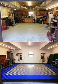 James shows off before and after shots of his shop remodel using TrueLock HD flow through garage floor tiles Brick Flooring, Concrete Floors, Vinyl Flooring, Garage Flooring, Terrazzo Flooring, Cork Flooring, Linoleum Flooring, Wooden Flooring, Bathroom Flooring
