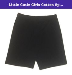 Little Cutie Girls Cotton Spandex Bike Shorts Sizes 12 Months to 12 Years. Soft cotton jersey mid-thigh bike shorts. 95% Cotton & 5% Spandex. Available in Sizes from 12 Months-12 Years. Slender fit. If concerned, order one size larger. Look for our misses listing for sizes from 0 to 5XL. Little Cutie designer fashion basics at a fraction of name brand cost. Machine wash on cool with like colors. Best if air dried.