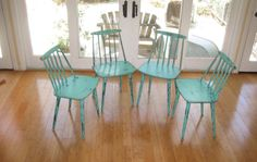 Set of 4 Danish Modern Mid-Century Kitchen Chairs Up-Cycled and Distressed in Turquoise