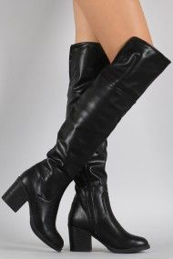 Bamboo Leather Folded Cuff Chunky Heeled Riding Boots