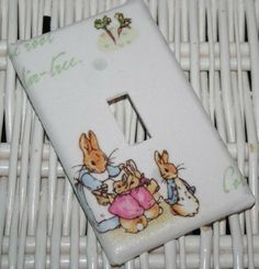 Switchplate made w Pottery Barn Kids Peter Rabbit Nursery. $5.00, via Etsy.