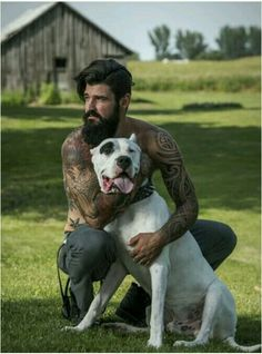 Beard,  tatts and a dog!