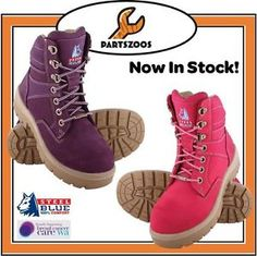 Steel-Blue-Southern-Cross-Ladies-Pink-Purple-Safety-Work-Boots-522760-New-Shoes